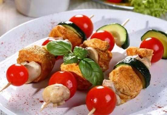 Шашлык овощной с шампиньонами