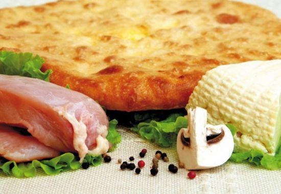 Осетинский пирог с куриным мясом, грибами и сыром