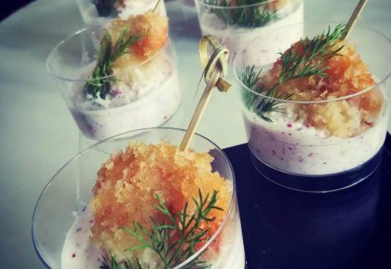 Креветка в йогурте в шоте